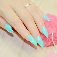 24pcs Stiletto Point Shape Fake Nails Candy Cyan Green Faux Ongles Full Cover ABS False Nails Artificial Tips