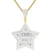 Star 3D Look Silver Baguette IcedOut Sides Custom Chain