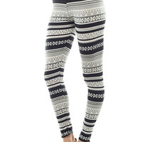 Women's Regular Four Petal Pattern Print Leggings - Black Grey