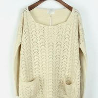 Bat Sleeve Hollow Out Beige Sweater S005044
