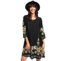 Floral Women Dresses Multicolor Three Quarter Length Sleeve Scoop Neck Straight Dress Flower Print Flowy Dress