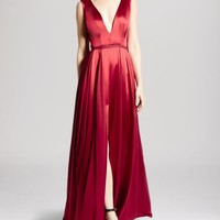 HALSTON HERITAGE Gown - Sleeveless V-Neck Flowing Skirt | Bloomingdales's