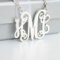 1'' inch personalized monogram necklace,925 sterling silver initials monogram necklace,custom monogram necklace,monogram pendant necklace