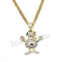 Hiphop Gangster Emoji Brass Pendant W/ 5mm 18-30 inches Cuban Chain