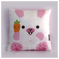 "12 x 12"" Kids Pillow, White Bunny, Stuffed Toy, Decorative Pillow, Kids Play Room Decor, Children's Cushion"