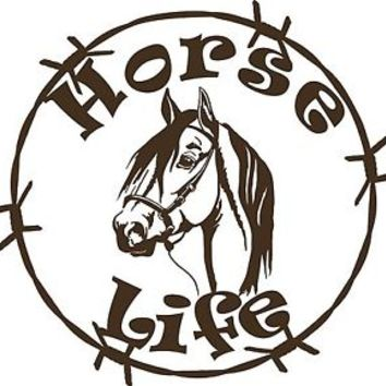 Horse Life Barb Wire Animal Farm Car Truck Trailer Window Vinyl Decal Sticker
