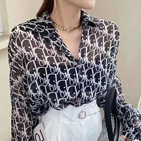 DIOR summer new mid-length loose all-match shirt chiffon shirt