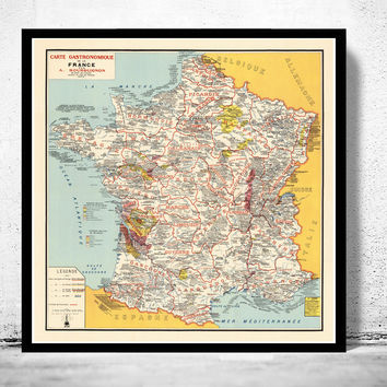 Old Map of France,  Vintage Poster France