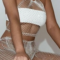Good Memories White Sheer Fishnet Mesh Sleeveless Backless Spaghetti Strap Crop Halter Top Loose Pants Two Piece Set