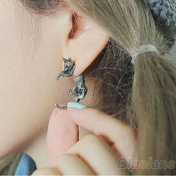 1 Pair Popular Long Tail Small Leopard Cat Puncture Girls And Boys Stud Earrings for Men Women 00SY