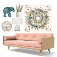 Circle of Flowers Bohemian Fabric Tapestry