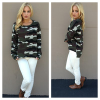 Army Love Hi Low Knit Sweater