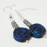 Blue Flower Carved Hematite Silver Earrings, Long Non Magnetic Hematite Silver Dangle, Summer Jewelry
