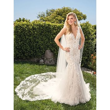 Casablanca 2369 Alexis Plunging V-Neck Lace Fit and Flare Wedding Dress