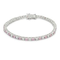 Cassidy Pink and Clear Round  CZ Tennis Bracelet – 7in   10ct