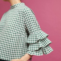 Ruffled Gingham Top