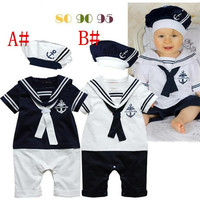 2015 new Navy sailor style rompers baby boy toddlers one piece bodysuit with hat navy costume baby jumpsuit baby one-piece clothing D041