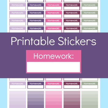 Homework Stickers, Planner Stickers Printable School, School Stickers Planner, Student Planner Stickers, Planner Stickers College