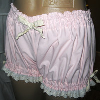 Size Small-Womens Cotton Bloomers Pale Pink trimmed in Cream Ribbons and Eyelet