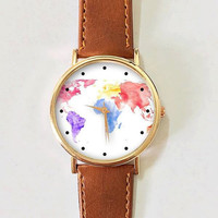 World Map Watercolor Watch , Women Watches, Men's Watch, Leather Watch, Vintage Style, Gold Watch, Rose Gold Watch, Silver Watch, Handmade