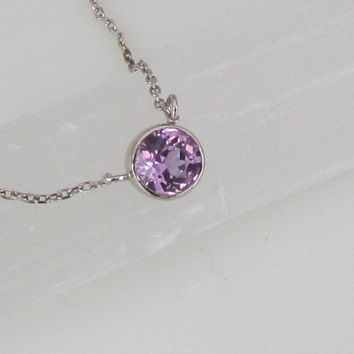 Orchid Purple Sapphire 14k White Gold Bezel Set Necklace Delicate Layering Gemstone Necklace Keepsake Gift for Her