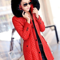 New Winter Womens leather fur collar Warm down cotton long jacket hooded coat