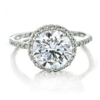 Bling Jewelry Vintage Style 925 Sterling Silver Round Brilliant CZ Engagement Ring - Size 7