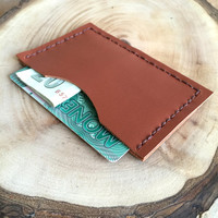 Brown Leather Card Case,Cognac Leather Card Holder,Minimalist Card Case,Boho Wallet,Leather Wallet,Leather Case,Money Clip,Leather Pouch