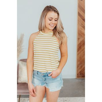 Slow Lane Striped Tank - Yellow