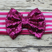 Hot Pink Striped Sequin Bow Headband