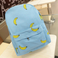 Cute Lightweight Booksack Banana Print Backpack