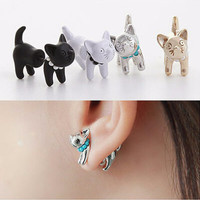 Cat and Pearl Stud Earrings - 4 Colors Available!