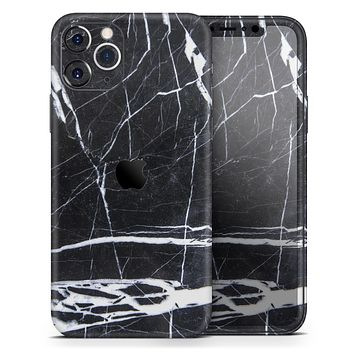 Natural Black & White Marble Stone - Skin-Kit compatible with the Apple iPhone 12, 12 Pro Max, 12 Mini, 11 Pro or 11 Pro Max (All iPhones Available)