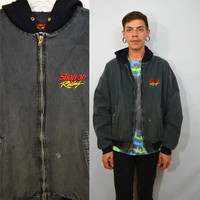 90s Denim Jacket Hooded Soft Grunge Hipster Mens Large XL Zipper Snap On Racing Faded Black Gray Distressed Holes Frayed 1990s