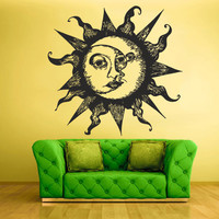 Wall Vinyl Sticker Decals Decor Art Bedroom Design Mural Sun Crescent Dual Ethnical Symbol Moon (z810)