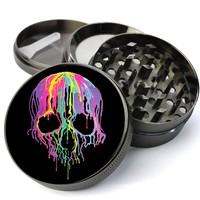 Neon Dripping Skull Extra Large 5 Piece Spice & Herb Grinder