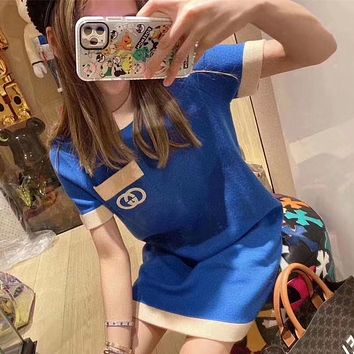 """""""Gucci"""" Women Casual Fashion Multicolor GG Letter Embroidery Short Sleeve Knit Blue Dress"""