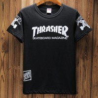 Thrasher & Supreme Joint Series Summer Slim Half Sleeve Top Round Neck T-Shirt F-A-KSFZ black