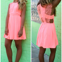 A Long Kiss Goodnight A-Line Lace Sleeve Neon Coral Dress