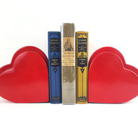 Rare 1979 Fitz and Floyd Red Heart Bookends / Super Cute Modern Collectible Home Accents / Eclectic Vintage Ceramic Pop Art