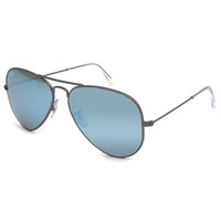 Ray-Ban Aviator Flash Lenses Sunglasses Gunmetal/Green Mirror Silver Solid One Size For Men 24694562101