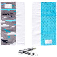 Baby Laundry 92126 Teal Planes 2-Pack Soft Minky Burp Cloths with Pacifier Clip