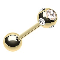 FreshTrends CZ Multi-Gemball Gold Plated Tongue Ring Barbell