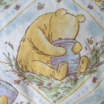 HTF Classic Winnie the Pooh Bedding Pooh TWIN Size Bedding Fitted Sheet Disney Bed Sheet Classic Pooh Craft Fabric Kids Bedding Used Clean