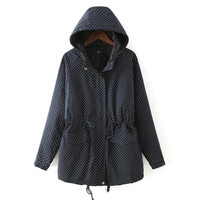 Blue Dotted Drawstring Hoodie Coat