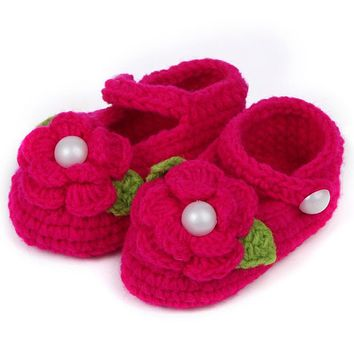Lovely Infant Toddler Princess First Walkers born Baby Girls Kid Prewalker Soft Soled Shoe Flower Knitting Shoes Footwear