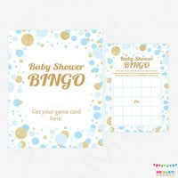 Blue and Gold Baby Shower Games - Bingo Game + Sign - Printable Baby Shower Game - Boy Baby Shower Confetti / INSTANT DOWNLOAD CB0003-bg