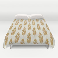 Feathers-Cream & Mustard Duvet Cover by Bohemian Gypsy Jane