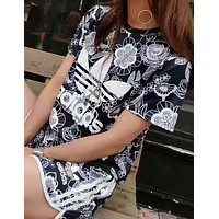 """Adidas"" Fashion Casual Multicolor Clover Letter Floral Print Short Sleeve Sweater Set Two-Piece Sportswear"