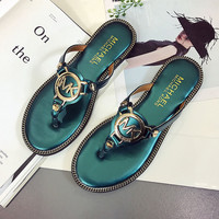 MK Casual Fashion Women Golden Logo Sandal Slipper Shoes